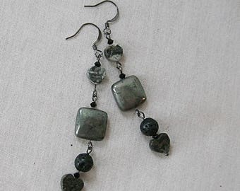 Pyrite Square and Heart Earrings with Lava and Silver Leaf Jasper on Gunmetal, Gray, Black, Shiny Metal