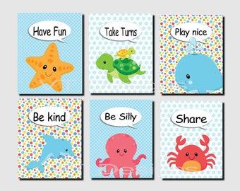 Playroom Wall Art, Boy Nursery Art, Green Blue, Sea Creatures, Nautical Wall Art, Whale, Starfish, Nursery Decor, Set of 6, Prints or Canvas