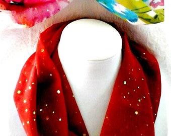Infinity Tube Scarves, Soft Round Scarves, Short Tube Scarves, Women's Short Floral Circle Scarf,  Handmade  Colorful Tube Scarves