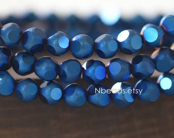 Frosted Faceted Round Crystal Glass beads 6mm, Matte Metallic Blue (GM023-9)/ 100 beads