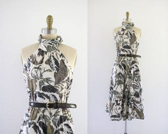 foliage halter dress / m