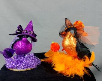 Halloween Ravens * Halloween Decoration * Halloween Birds * Orange and Purple Birds * Halloween Mantel * Halloween Witch * Black Birds