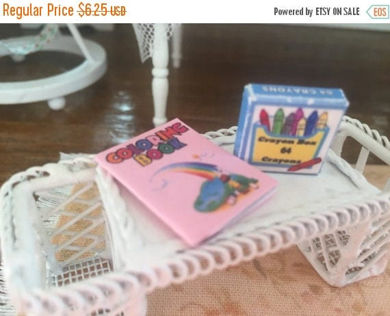 ON SALE Miniature Rainbow Coloring Book and Crayon Box, Dollhouse Miniatures, 1:12 Scale, Dollhouse Decor, MIniature Accessories
