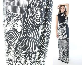 Vintage 70s Paganne Maxi Dress Op Art Zebra Sleeveless Asian Black White 1970s Medium M Hippie Boho