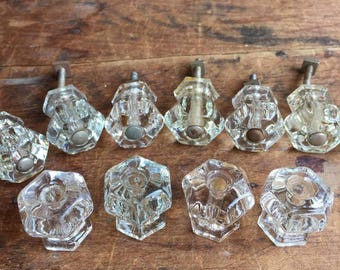 FREE SHIPPING Vintage Clear Glass Cabinet Knobs (Set of 11) E2231