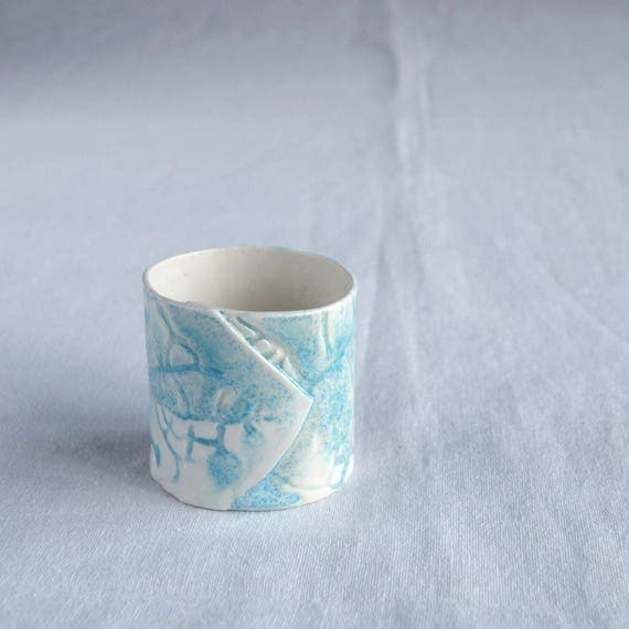 LEAF tea light holder in gift box, candle holder with aqua / turquoise and white glaze, hand made contemporary ceramic votive