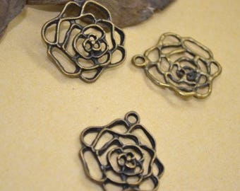 5 Rose Charms: Antique Bronze Finish for Bracelets and Jewelry-Making