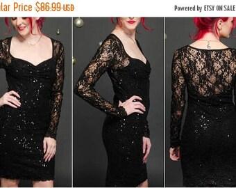 Sheer Back Dress - Formal Lace Dress - Pencil Dress - Short Lace Dress - Lace Sleeve Dress - Wedding Guest Dress - Black Lace Dress