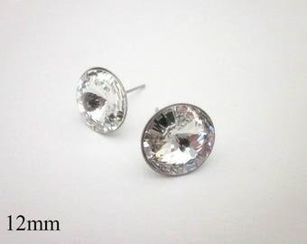 Clear Crystal Stud Earrings -- Swarovski Stud Earrings -- Large Crystal Studs -- Crystal Post Earrings -- Clear Studs -- Crystal Posts