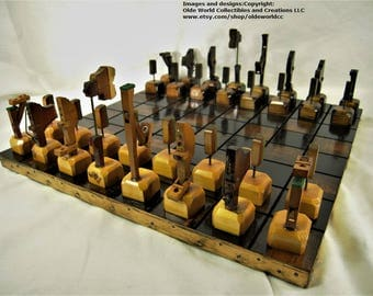 Wonderful 1909 Antique Piano Parts Chess Set And Optional 17 Inch Repurposed Table  Top Board #1120160020