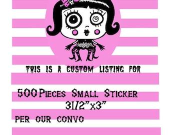 Custom Listing 500  pcs Small size 3 1/2 x 3
