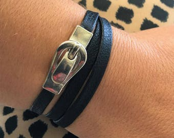 NEW!!! BOHO Leather Wrap Buckle Bracelet, Leather Jewelry, Gift for Her, Triple Wrap Bracelet, Bangles, Magnetic Clasp