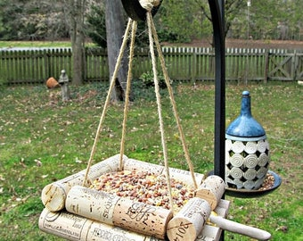 ON SALE Wine Cork Bird Feeder - Bird Lovers, Outdoor Yard Decor