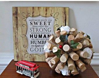 ON SALE Wine Cork Kissing Ball - White Rose Pomander - Easter, Wedding, Spring, Summer Home Decor