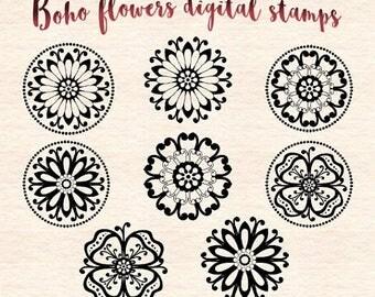 65%OFF SALE Boho flowers digital stamps, flower clip art, floral clip art, hippie flowers digital stamps, DS45