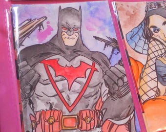 Batman watercolour aceo by boo rudetoons JusticeLeague art artwork comics comicbook cartoon DC
