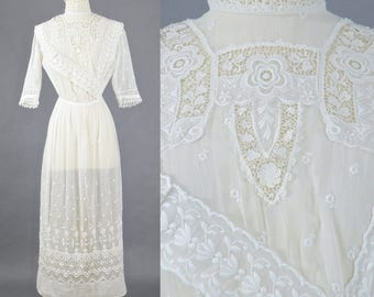 Edwardian White Embroidered Tea Dress, Antique 1900s White Dress, Edwardian Cotton Wedding Dress, XS