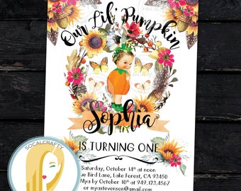 Pumpkin Birthday Party Invitation, Pumpkin First Birthday Party Invitation, Fall Invitation, Sunflower, Printed or Printable Invitations