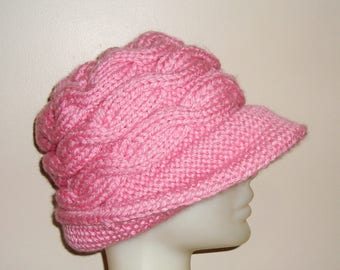 Pink Hat Women's Hat Winter, Cloche, With Brim, Bucket - Pink Gifts - Womens gift - Pink knit hat - valentines day outfit women