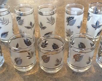Vintage Mid Century Modern Mad Men Libbey Silver Trim Leaf Old Fashioned Bar Juice Glass Tumbler Set of 10