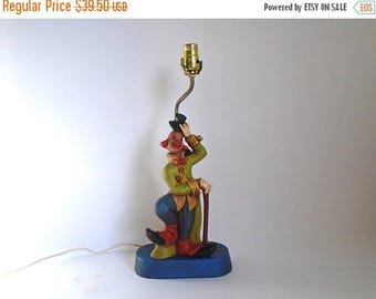 SALE - Vintage 1970's Children's Ceramic Clown Table Lamp