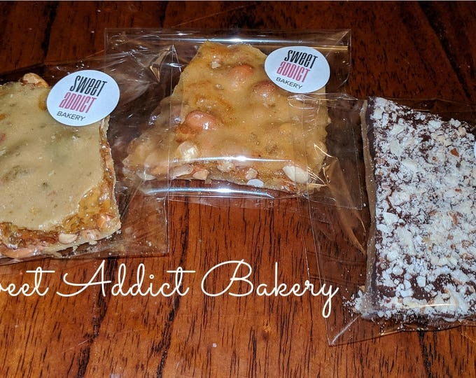 BRITTLE, ENGLISH TOFFEE packs - 2 ounces each - perfect stocking stuffer size - client gift, teacher gift, neighbors, snack size