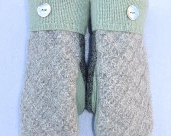 Wool Sweater Mittens // Recycled Sweaters // Fleece Lined // Light Gray Diamond Pattern with Mint Green Accents