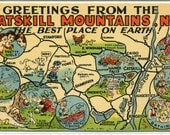 Greetings From Catskill Mountains New York Large Letter linen postcard