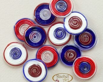 Blue, White and Red Glass Disc Beads, FREE SHIPPING,Set of Handmade Lampwork Beads - Rachelcartglass