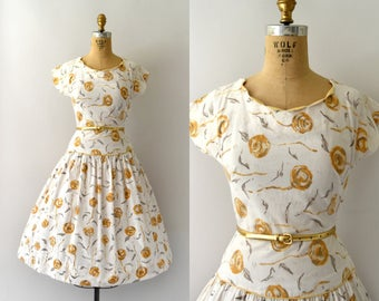 Vintage 1950s Dress - 50s Golden Yellow Rose Print Dress