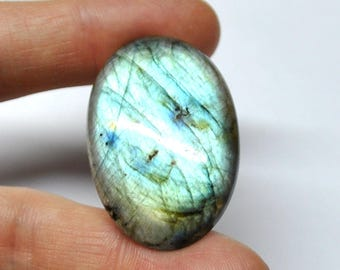 Blue Labradorite Oval Cabochon Natural Gemstone Flat Back Jewelry Supply AAA Quality - 41.7 x 27.4 x 7.9 mm - 68.9 ct - 170604-30