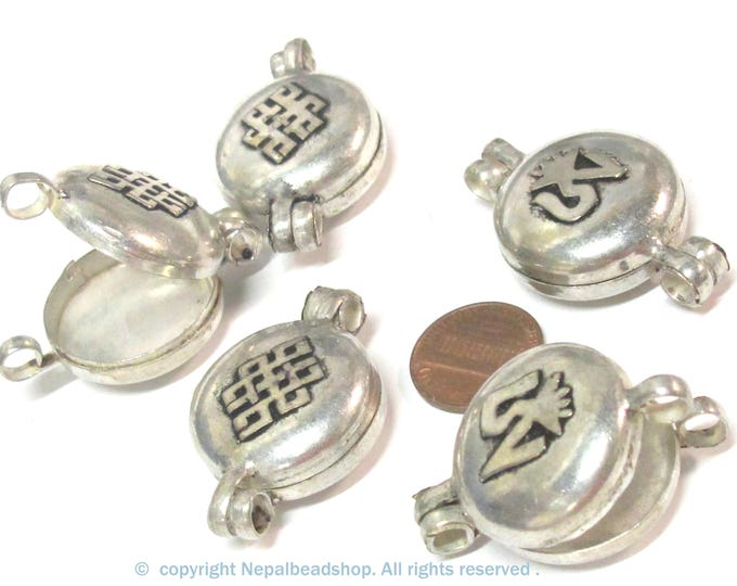 4 Pendants - Tibetan silver color Ghau prayer box Om with endless knot small size pendant -PM603s