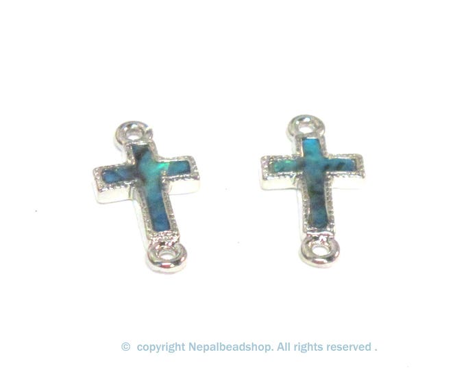 2 cross charm connectors - Small size Paua Shell inlaid cross charm connectors - 2 pieces - BD360T