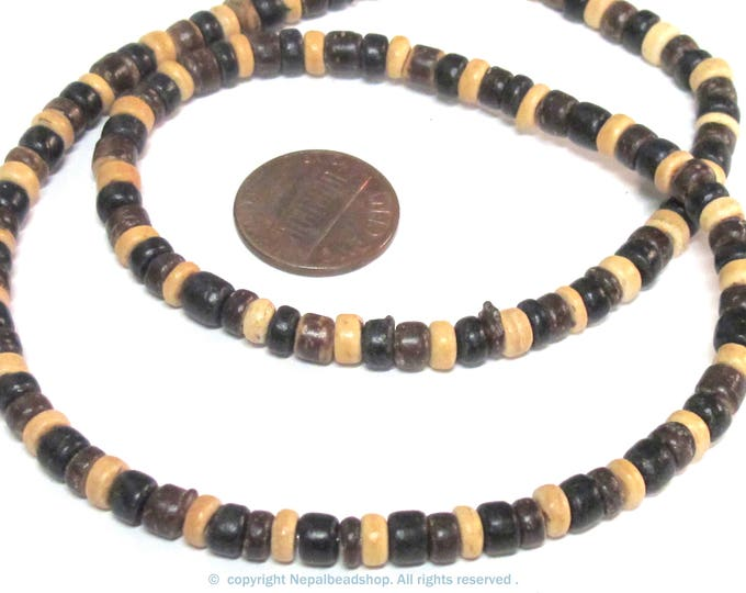 1 strand - Mix coconut  wood beads small size 5-6 mm 16 inches strand - MG007E