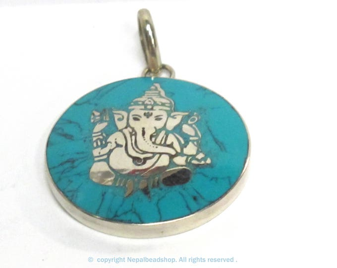1 pendant - Tibetan silver color round shape Ganesha prayer pendant from Nepal with turquoise inlay - PM608B