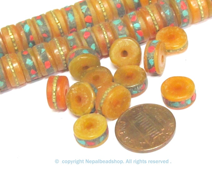 10 beads -  Tibetan copal resin beads with brass turquoise coral inlay rondelle disc shape approx 11 mm wide size- ML116B