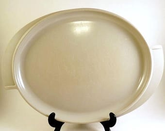 Gray Boonton Melmac MCM Platter 14 inches Oval Retro Plastic Vintage Winged Handles