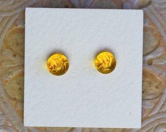 Dichroic Glass Earrings, Petite, Yellow  DGE-1247