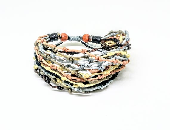 Knotted Multi Strand Earth Tones Bracelet Handmade in Thailand