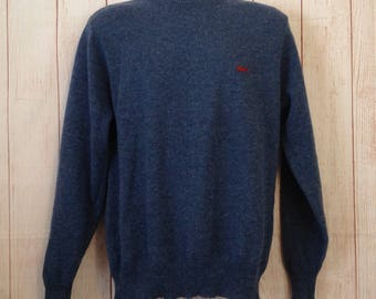 Vintage 80s Le Tigre Blue Crewneck Pullover Sweater Hipster retro Mod Mens Large L