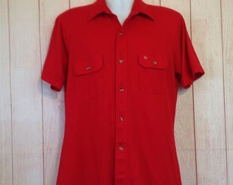 Vintage Christian Dior Chemises Red Short Sleeve Button Front Shirt Mens Large