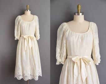 Joseph Magnin 70s cream crochet flapper lace bohemian dress. vintage 1970s dress