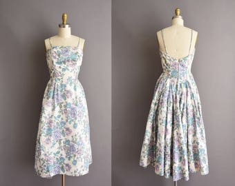 50s pastel pink and purple Rose print polished cotton cocktail party dress Small Medium vintage 1950s dress