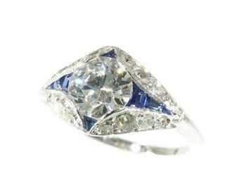 ON SALE Art Deco Diamond Engagement Ring Sapphire Ring Platinum Old European Cut Diamond Natural Sapphires 1920s Art Deco Jewellery