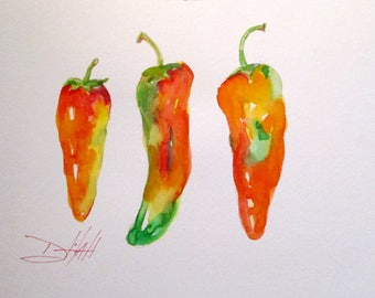 Three Jalapenos peppers 9x12 original watercolor painting Art by Delilah