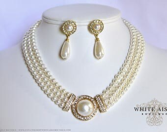 Ivory Pearl Bridal Jewelry Set Crystal Multi Strand Wedding Necklace Earrings Vintage Inspired Prom Evening Pageant Jewelry