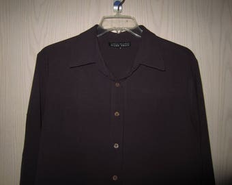Vintage Linda Allard Ellen Tracy Button Front Shirt Size XL