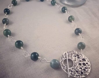 Moss Agate and Sterling Silver Necklace