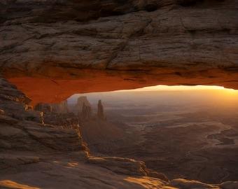 Mesa Arch Morning ~ Utah, Canyonlands National Park, rock, bridge, natural, stone, glow, orange, iconic landscape, sunrise, Southwest
