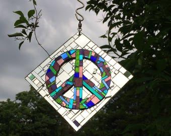 Sun Catcher, Suncatcher Mirror Mosaic Suncatcher, Sparkly Peace Sign Suncatcher, Dazzling Peace Sign, Green Purple Peace Hanging Peace Sign,